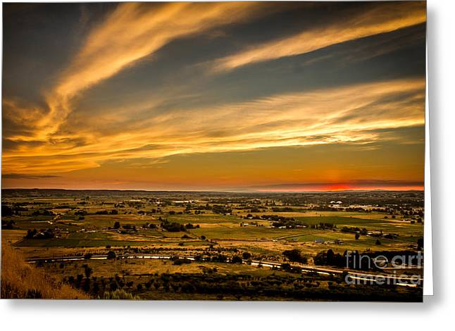 Haybales Greeting Cards - Golden Hour Greeting Card by Robert Bales