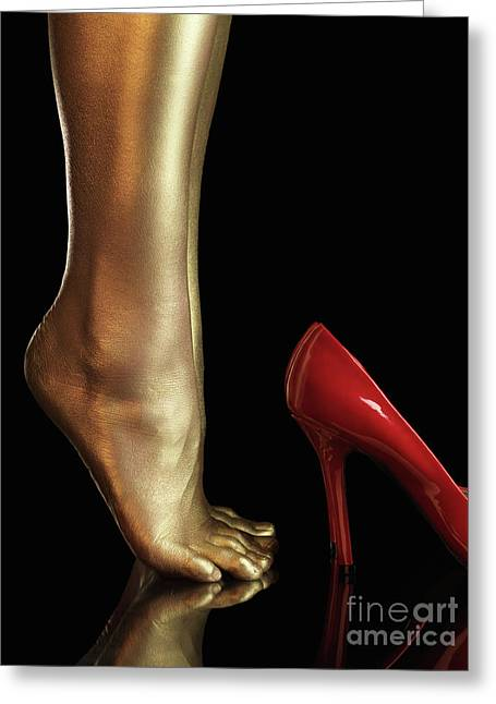 Low Heeled Shoes Greeting Cards - Golden Legs Greeting Card by Oleksiy Maksymenko