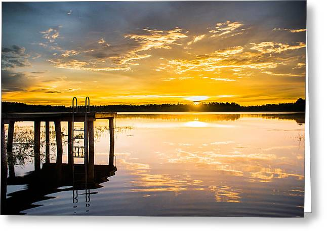 Lake House Greeting Cards - Golden Sunset Greeting Card by Parker Cunningham