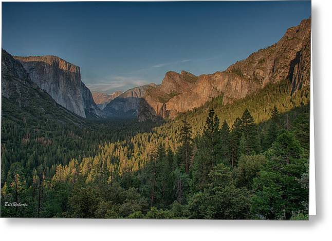 Tunnel View Greeting Cards - Golden Yosemite Greeting Card by Bill Roberts