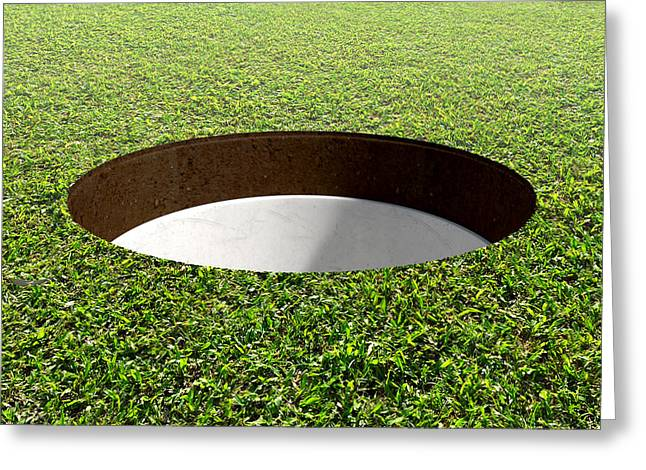 Putt Greeting Cards - Golf Hole And Green Greeting Card by Allan Swart