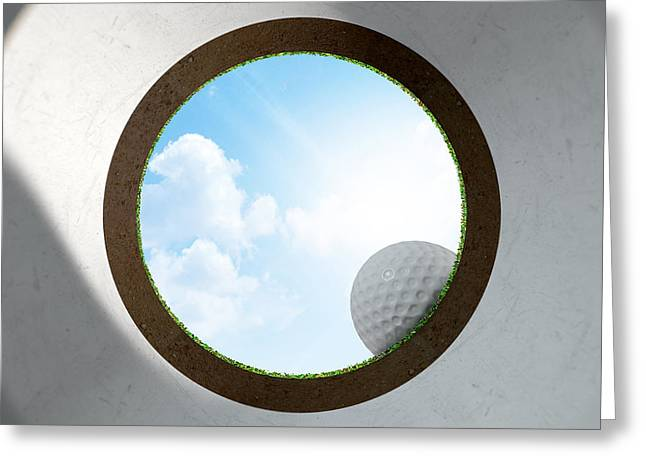 Sink Hole Greeting Cards - Golf Hole With Ball Approaching Greeting Card by Allan Swart