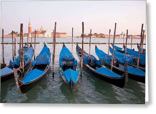 Gondolas At Dusk Greeting Card by Italian School