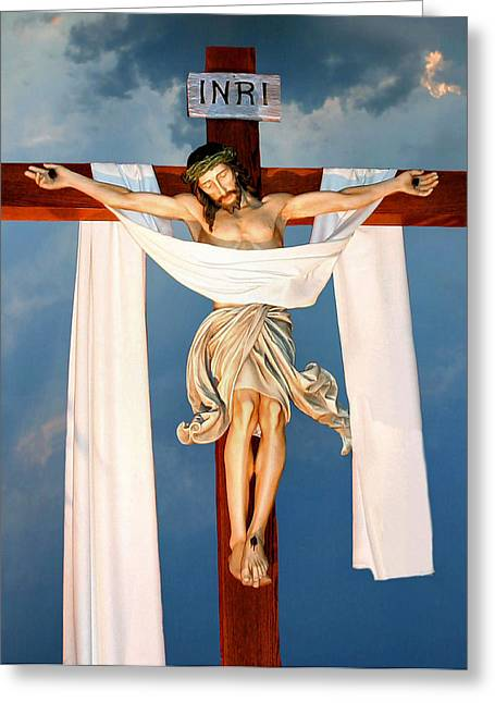 Rood Greeting Cards - Good Friday Greeting Card by Kristin Elmquist