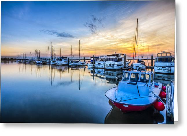 Sailboats In Harbor Greeting Cards - Good Times Greeting Card by Debra and Dave Vanderlaan