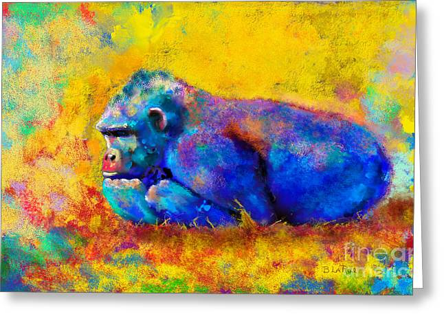 Colorful Animal Art Greeting Cards - Gorilla Gorilla Greeting Card by Betty LaRue