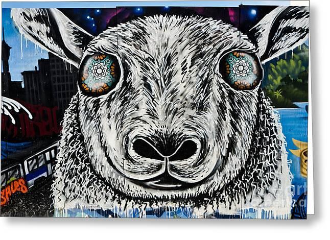 Slam Greeting Cards - Graffiti Sheep Greeting Card by Yurix Sardinelly