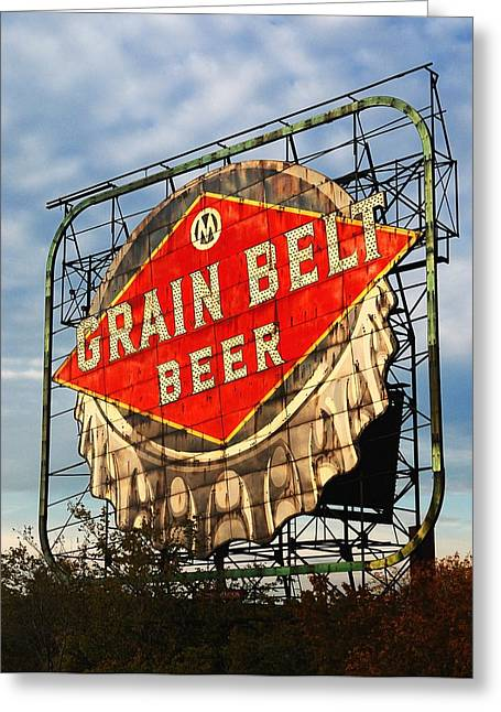 Grain Belt Beer Sign Greeting Card by Jim Hughes
