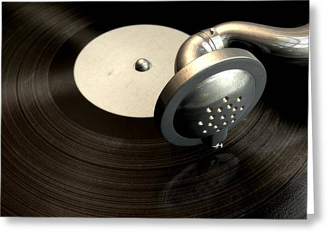 Phonograph Greeting Cards - Gramophone And Record Greeting Card by Allan Swart
