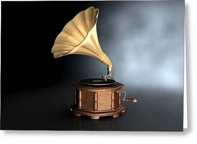 Phonograph Greeting Cards - Gramophone Dark Background Greeting Card by Allan Swart