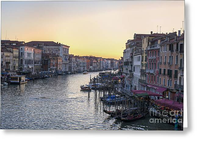 Italian Sunset Greeting Cards - Grand Canal at sunset Greeting Card by Patricia Hofmeester