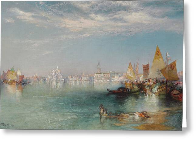 Boats In Reflecting Water Greeting Cards - Grand Canal  Venice Greeting Card by Thomas Moran