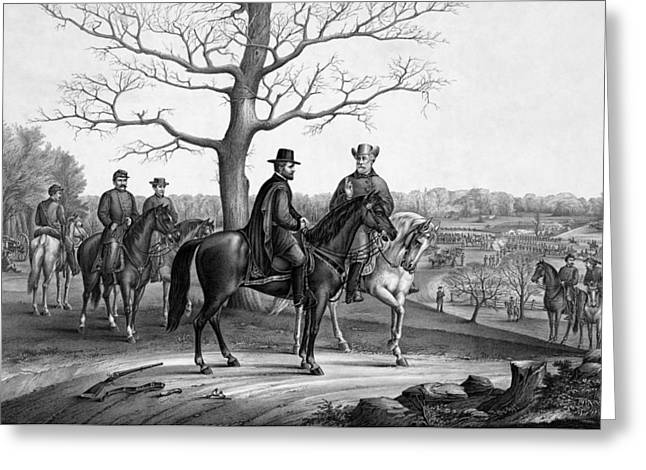 The General Lee Greeting Cards - Grant And Lee At Appomattox Greeting Card by War Is Hell Store