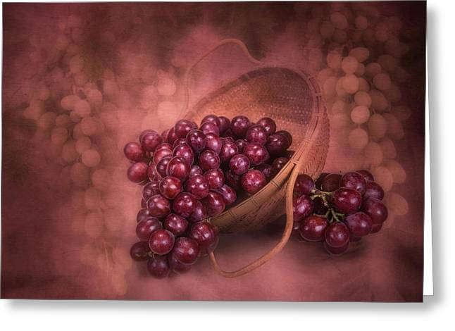 White Grapes Greeting Cards - Grapes in Wicker Basket Greeting Card by Tom Mc Nemar