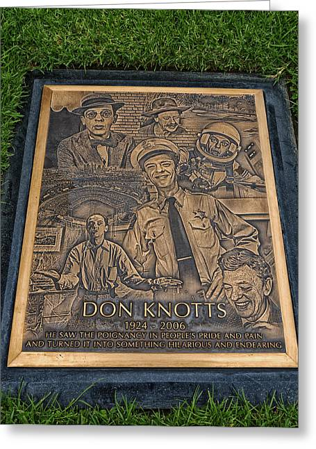 Comedian Greeting Cards - Gravesite Of Don Knotts - Westwood Cemetery Greeting Card by Mountain Dreams