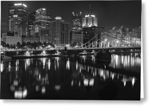 Incline Greeting Cards - Grayscale Pittsburgh Greeting Card by Frozen in Time Fine Art Photography