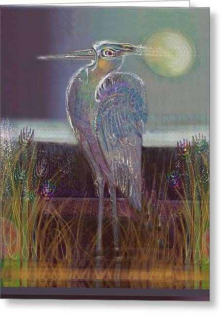 Great Birds Pastels Greeting Cards - Great Blue Heron Greeting Card by Lydia L Kramer