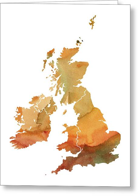 New Britain Digital Art Greeting Cards - Great Britain Watercolor Map Greeting Card by Chris Smith