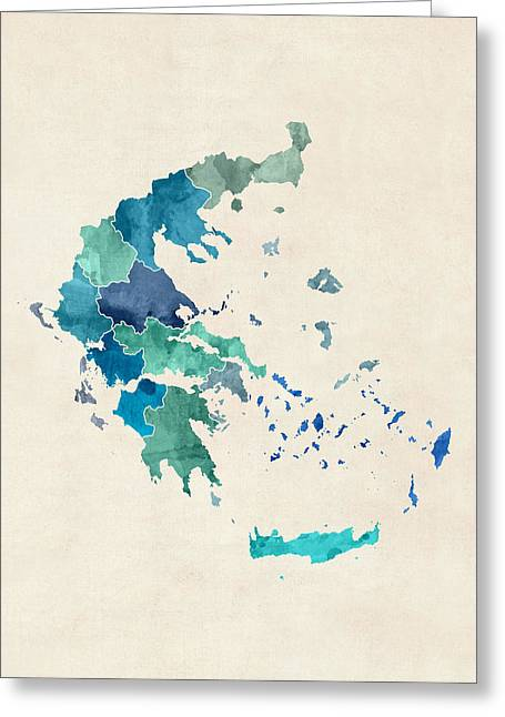 Greek Art Greeting Cards - Greece Watercolor Map Greeting Card by Michael Tompsett