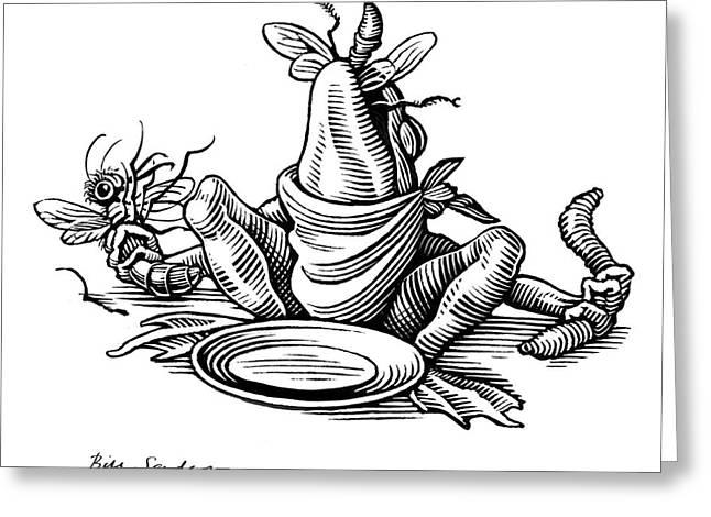 Linocut Greeting Cards - Greedy Frog, Conceptual Artwork Greeting Card by Bill Sanderson