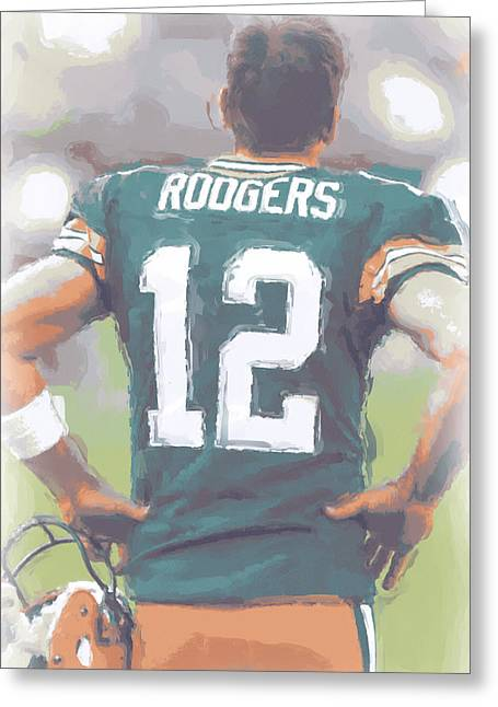 Packers. Greeting Cards - Green Bay Packers Aaron Rodgers Greeting Card by Joe Hamilton