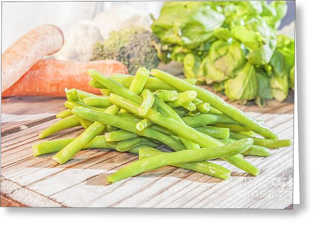 Green Beans Greeting Cards - Green bean Greeting Card by Daniel Ronneberg