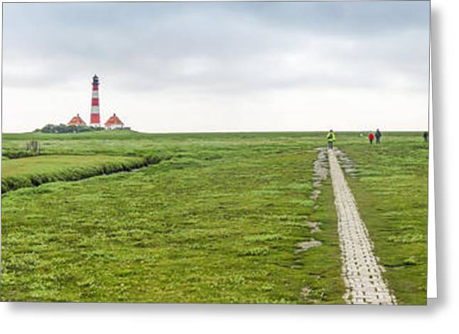 Panoramic Ocean Greeting Cards - Green fields and romantic lighthouse Greeting Card by JR Photography