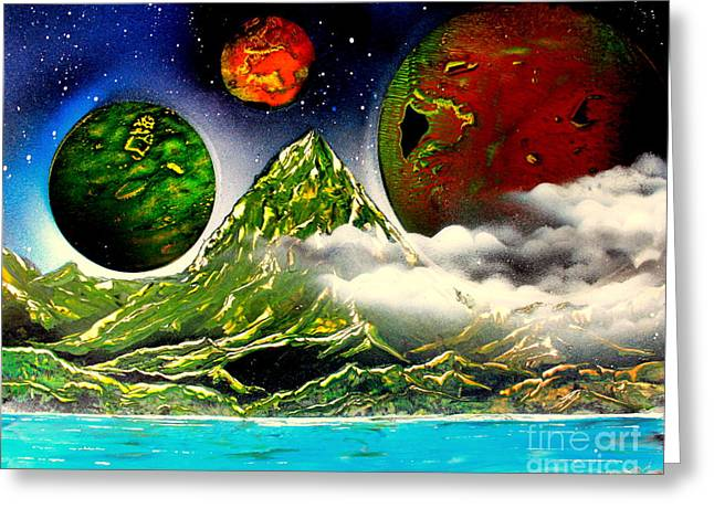 Outer Space Paintings Greeting Cards - Green Mt. 4686 Greeting Card by Greg Moores