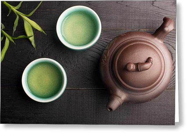 Green Tea In The Tea Cups Greeting Card by Vadim Goodwill