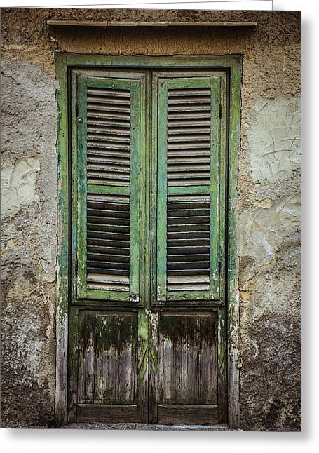 Concept Photographs Greeting Cards - Green window shutters Greeting Card by Maria Heyens