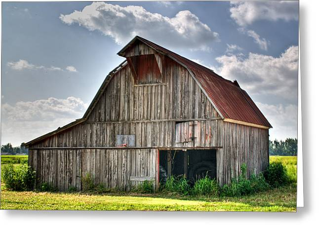 Grey Barn Greeting Card by Douglas Barnett