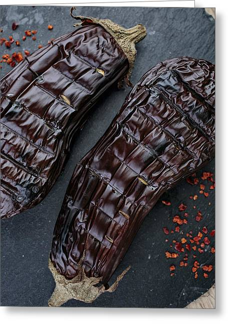 Grilled Aubergine Greeting Card by Nailia Schwarz