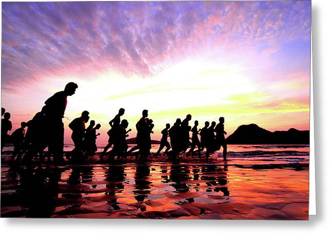Race Relations Greeting Cards - Group Of Young People Runs At The Beach Greeting Card by Sujin Jetkasettakorn