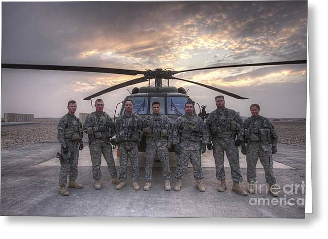 Night Hawk Greeting Cards - Group Photo Of Uh-60 Black Hawk Pilots Greeting Card by Terry Moore