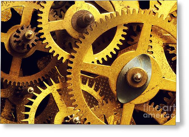Industrial Concept Greeting Cards - Grunge gear cog wheels background Greeting Card by Michal Bednarek