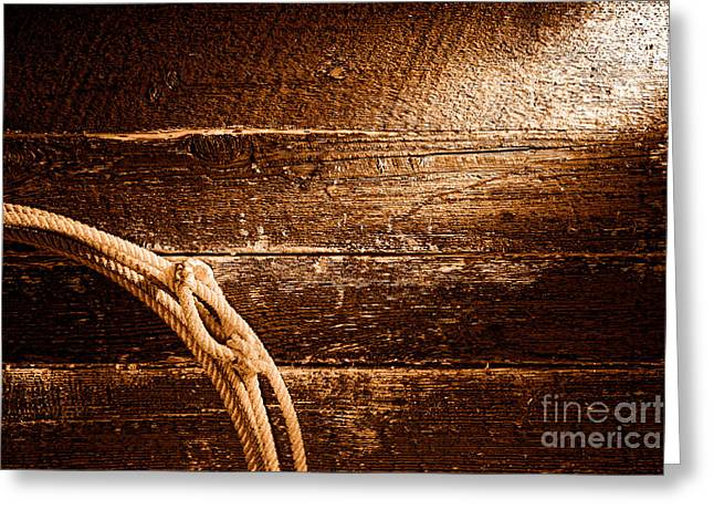 Grunge Lasso - Sepia Greeting Card by Olivier Le Queinec