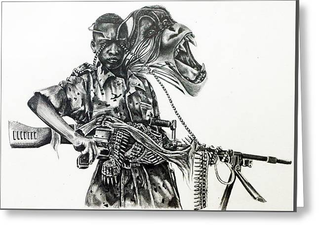 Child Soldier Drawings Greeting Cards - Guerilla Greeting Card by Silvana Mejia