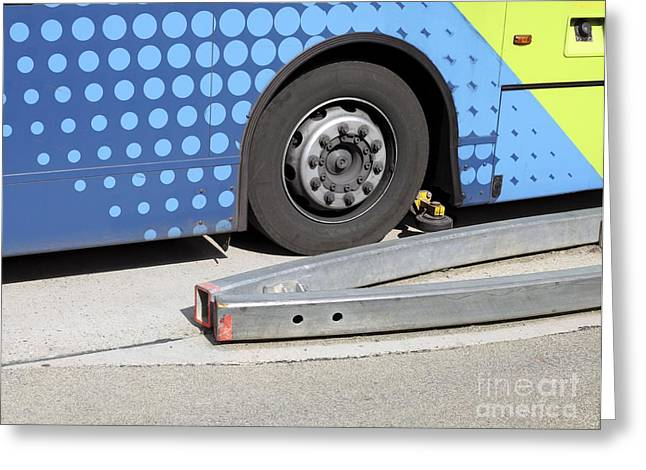 Mechanism Photographs Greeting Cards - Guided Busway Wheel Mechanism Greeting Card by Martin Bond