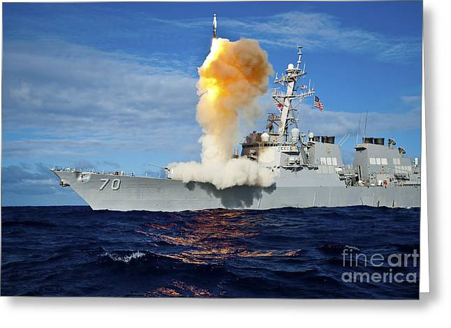 Guided Missile Destroyer Uss Hopper Greeting Card by Stocktrek Images