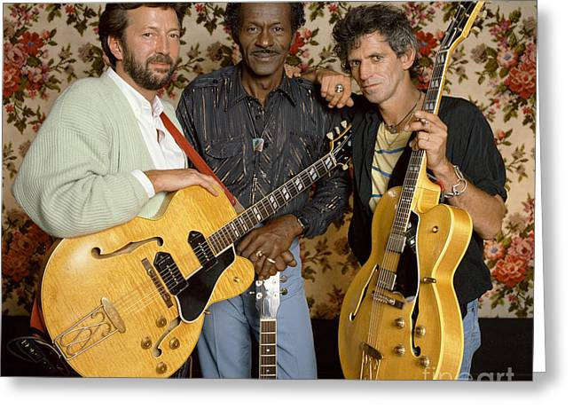Guitar Legends Berry, Clapton Greeting Card by Terry O'Neill