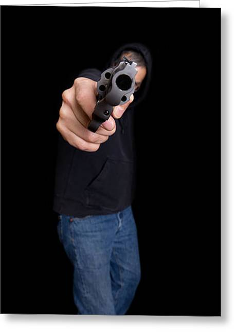 Violence Greeting Cards - Gun Man Greeting Card by Edward Fielding