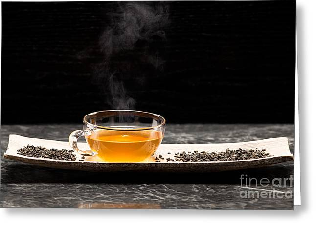 Drink Greeting Cards - Gunpowder green tea in glass teapot Greeting Card by Wolfgang Steiner
