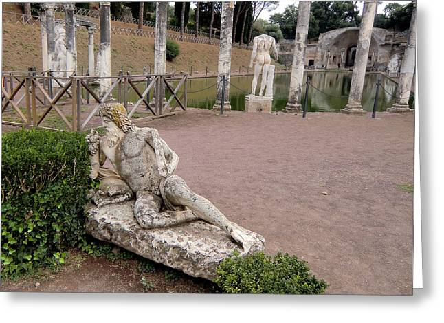 Greek Sculpture Greeting Cards - Hadrians Villa Greeting Card by Mindy Newman