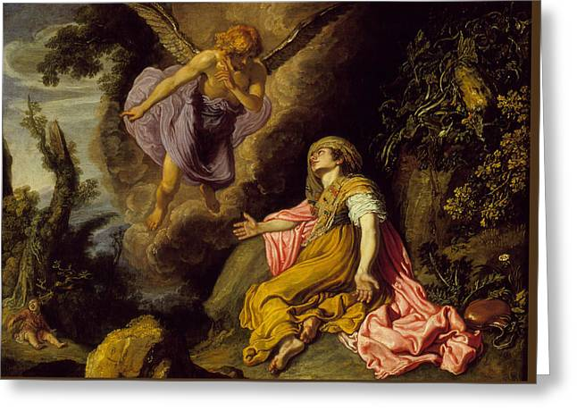 Hovering Greeting Cards - Hagar and the Angel Greeting Card by Pieter Lastman