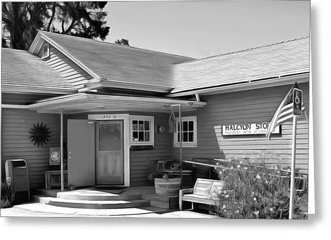 Wooden Building Paintings Greeting Cards - Halcyon Store Halcyon California BW Greeting Card by Barbara Snyder