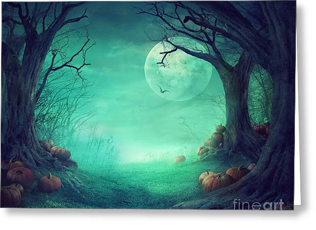 Castle Horror Illustration Greeting Cards - Halloween background Greeting Card by Mythja  Photography