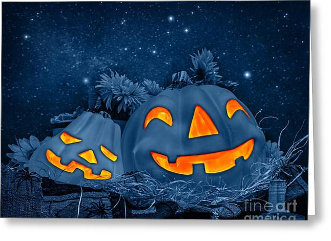 Flower Design Greeting Cards - Halloween pumpkin decoration Greeting Card by Anna Omelchenko