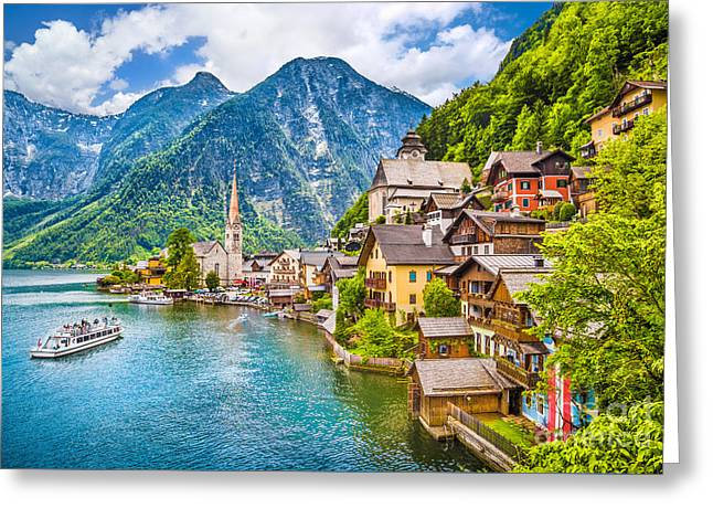 Historic Ship Greeting Cards - Hallstatt Greeting Card by JR Photography
