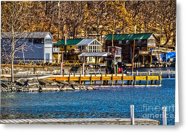 Keuka Greeting Cards - Hammondsport Docks Greeting Card by William Norton