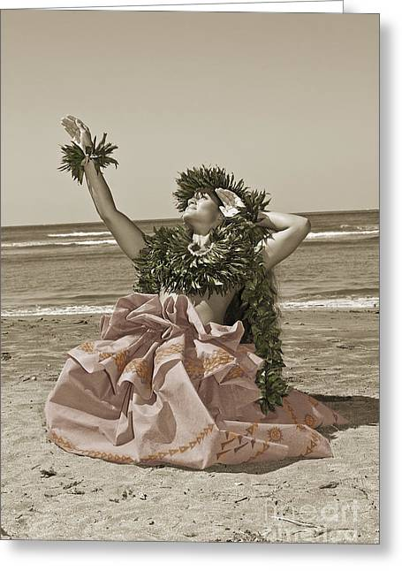 Long Skirt Greeting Cards - Hand Colored Hula Greeting Card by Himani - Printscapes